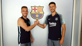 Lenglet and Arthur's first training sessions
