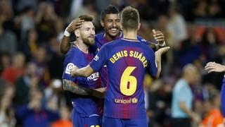 El pòquer de gols de l'argentí, juntament amb les dianes de Paulinho i Denis Suárez, fan que els de Valverde sumin la cinquena victòria en les cinc primeres jornades de la Lliga
