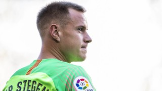 Ter Stegen does __________ every time Barça score a goal?
