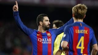 Arda Turan scores his second hat-trick of the campaign and becomes the first to score in all four competitions