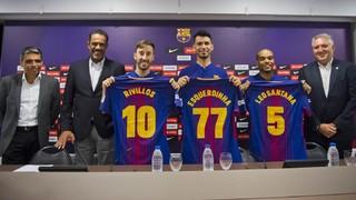 La presentació sencera de Rivillos, Leo Santana i Esquerdinha amb el FC Barcelona Lassa