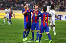 The Brazilian sets up all three goals, two for Giuly and one for Simao, as the blaugrana win the veteran edition of the Clásico in Beirut