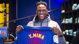 Un mes de la presentación de Yerry Mina con el Barça
