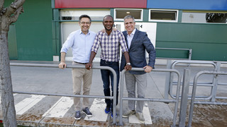 Bartomeu, Mestre and Abidal visit the training session