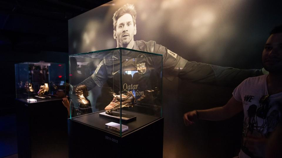 The Four Ballons DOr And Two Golden Boots Won By Argentinean Are On Display Espai Leo Messi Is First Area Dedicated To A Single Player Still