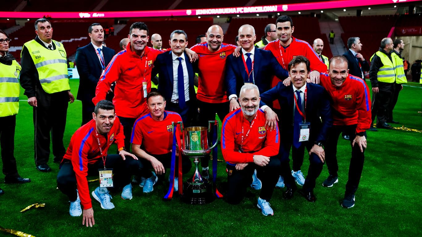 The manager won one as a player with FC Barcelona and two as Olympiacos' coach before Saturday's Copa del Rey victory