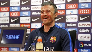 Luis Enrique all smiles in the press room