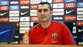 El técnico del Barça habla antes de recibir los bilbaínos en el Camp Nou para disputar la jornada 29 de Liga