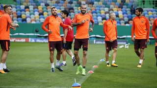 The first team squad work out at the venue of Wednesday's Champions League encounter with Portuguese side Sporting Lisbon