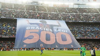 Camp Nou hails Leo Messi on 500 goal milestone