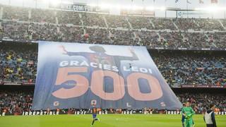 Tributo del Camp Nou a Leo Messi por sus 500 goles con el Barça