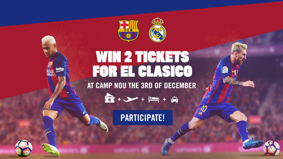 until 27 november barca fans everywhere can enter to win round trip airfare tickets and accomodation for the 3 december game against real madrid