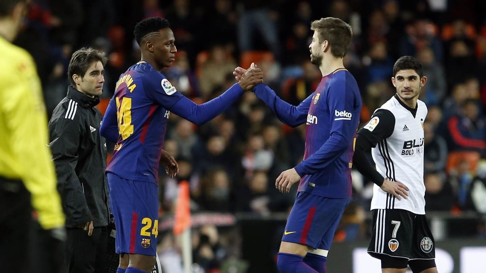 Yerry Mina Came On For Gerard Pique With Six Minutes Left To Play Miguel Ruiz Fcb