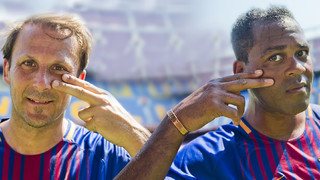 Patrick Kluivert and Gaizka Mendieta, two Barça Legends, help promote the #paralosvalientes campaign