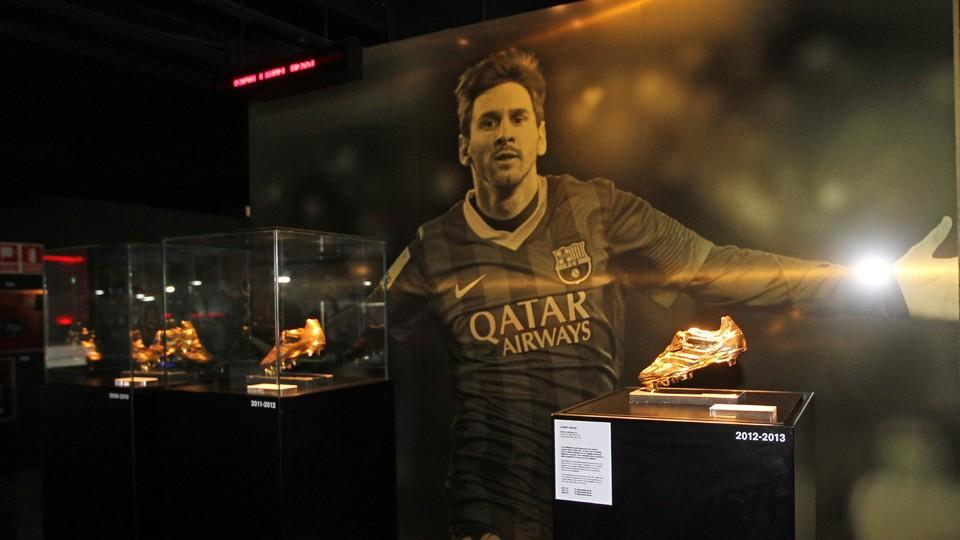Messis Latest Golden Boot Is On Display In The Club Museum PHOTO MIGUEL RUIZ